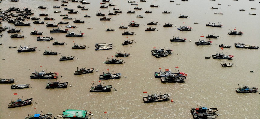 Fishing boats berthed at a fishing port two days before the three-month summer fishing moratorium in the Bohai Sea, the Yellow Sea, the East China Sea, and the waters north to 12 degrees north latitude of the South China Sea on April 29, 2021.
