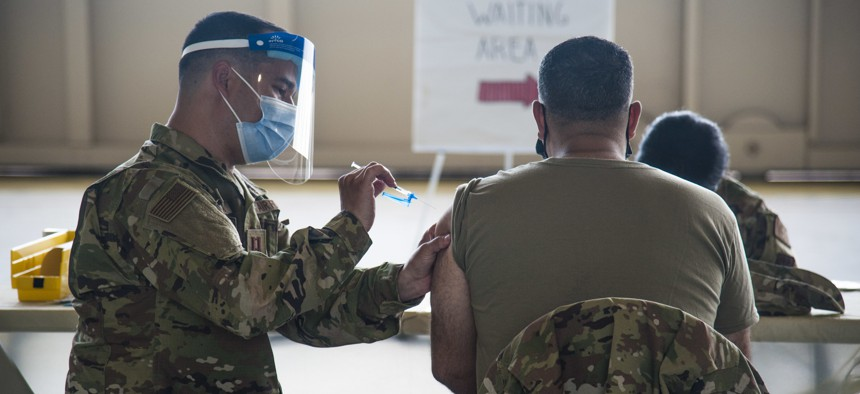 Reserve Citizen Airmen received their COVID-19 vaccinations at MacDill Air Force Base, Fla., in April 2021.