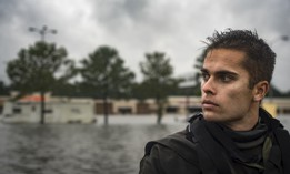 A pararescueman from the 58th Rescue Squadron surveys the flood waters from a rescue boat, Aug. 30, 2017, in Orange, Texas. The 347th and 563d Rescue Groups from Moody Air Force Base, Ga., Nellis AFB, Nev., and Davis Montana AFB, Ariz., sent rescue boat teams to Orange County, Texas, and the surrounding areas in support of FEMA during Hurricane Harvey disaster response efforts.
