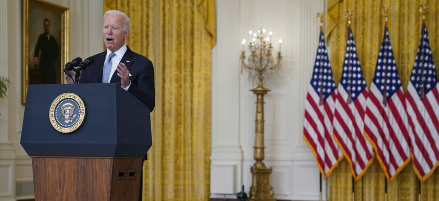 President Joe Biden speaks about Afghanistan from the East Room of the White House, Aug. 16, 2021, in Washington.