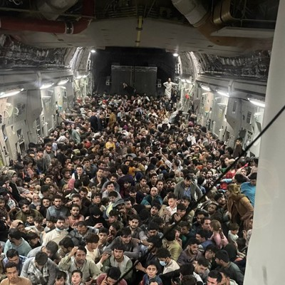 A photo from the inside of Reach 871, a U.S. Air Force C-17 flown from Kabul to Qatar on Aug. 15.