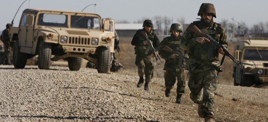 Members of the Afghan National Security Forces conduct urban training January 9, 2007, at Fort Riley, Kansas.