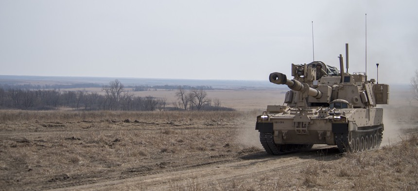 The U.S. Army tests an upgraded M109 Paladin howitzer at Fort Riley, Kansas, in 2018.