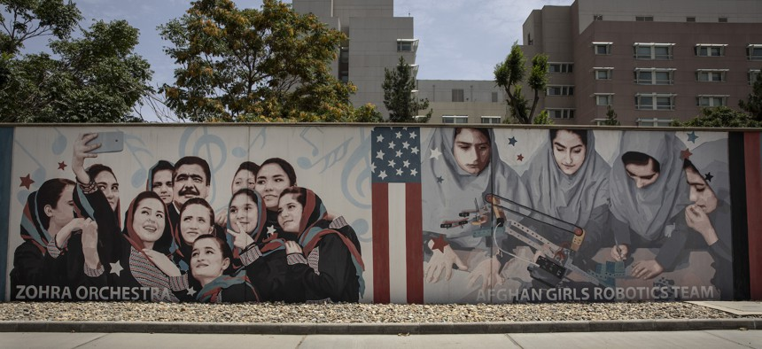 Murals are seen along the walls at the U.S. embassy on July 30, 2021 in Kabul, Afghanistan.