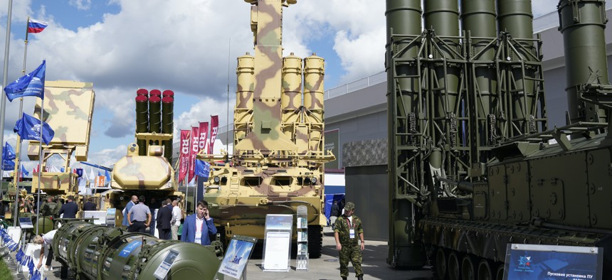 Russian weapons on display during the International Military Technical Forum Army-2021 in Alabino, outside Moscow, Russia, Sunday, Aug. 22, 2021.