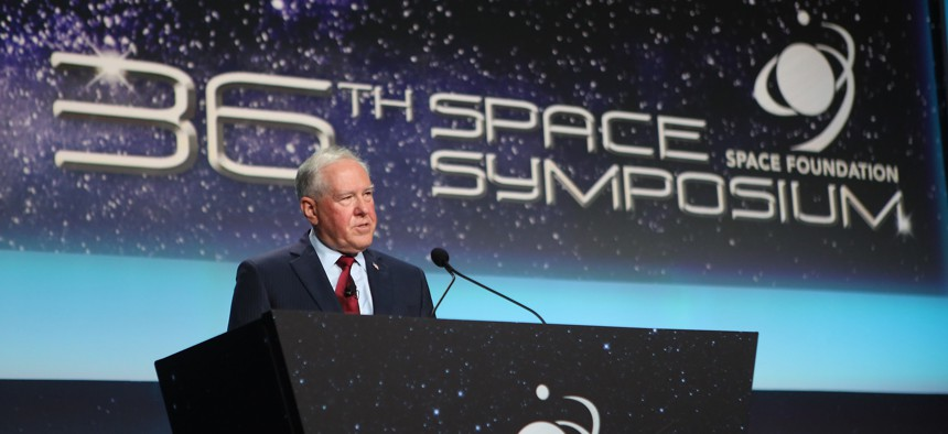 Secretary of the Air Force Frank Kendall delivers his keynote address at the 36th Space Symposium, Aug. 24, 2021 in Colorado Springs, Colo.