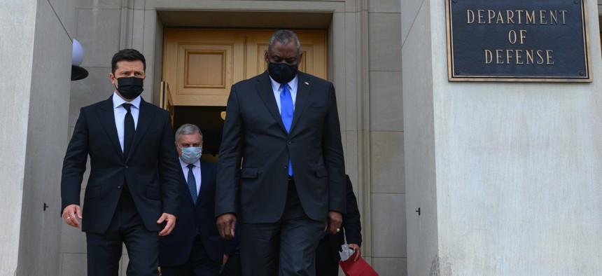 U.S. Defense Secretary Lloyd J. Austin III and Ukraine President Volodymr Zelenskyy exit the Pentagon on Aug. 31, 2021.