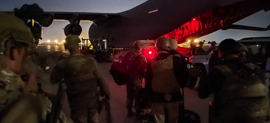 Paratroopers assigned to the 82nd Airborne Division prepare to board a U.S. Air Force C-17 on August 30th, 2021 at the Hamid Karzai International Airport.