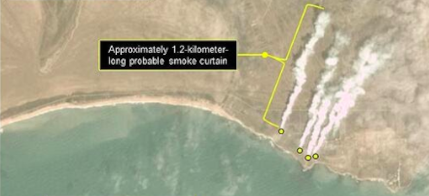Satellite imagery shows Russian use of smoke operations in Crimea, part of an April 15 exercise.