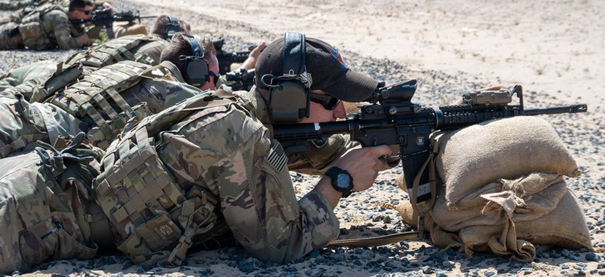 U.S. Army Sgt. Trever LaCasse, qualifies with an M4 rifle at Udairi Range Complex, Kuwait, May 9, 2021.
