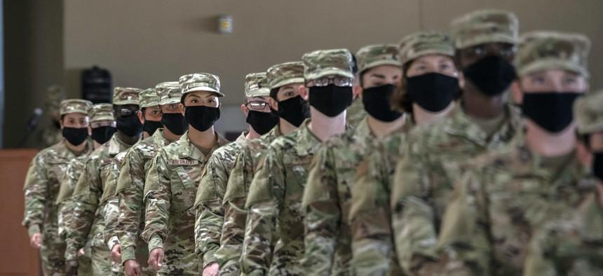 Airmen graduate from U.S. Air Force basic training, May 14, 2020, at Joint Base San Antonio-Lackland, Texas.