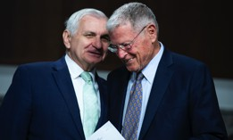 Chairman Jack Reed, D-R.I., left, and ranking member Sen. Jim Inhofe, R-Okla., arrive for a Senate Armed Services Committee hearing on June 15, 2021.