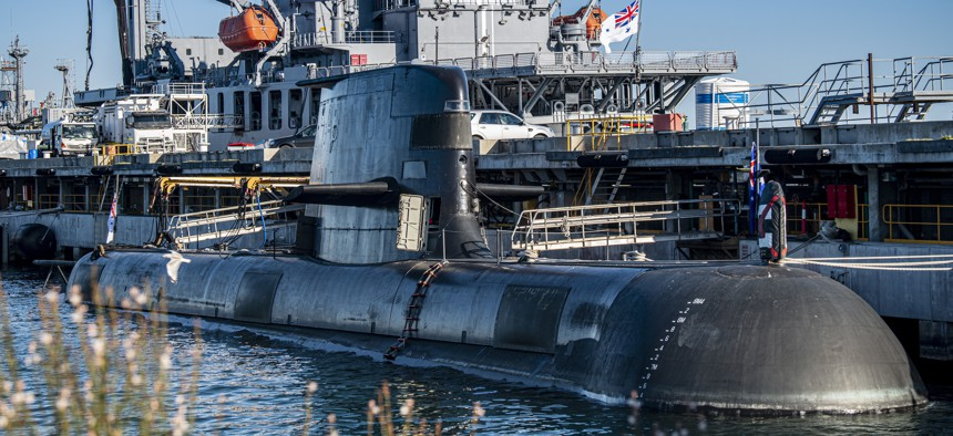 A Collins-class guided missile submarine is moored at Royal Australian Navy base HMAS Stirling, Australia.