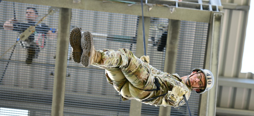 U.S. Army Spc. Garrett Clark with 173rd Airborne Brigade rappels from a tower during an air assault course conducted by an Army National Guard mobile training team from Fort Benning, Georgia, at the 7th Army Training Command's Grafenwoehr Training Area, Germany, Sept. 14, 2021.
