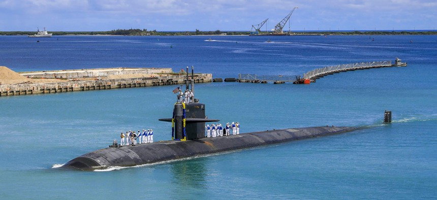 The Los Angeles-class fast attack submarine USS Oklahoma City returns to U.S. Naval Base in Guam, Aug. 19, 2021.