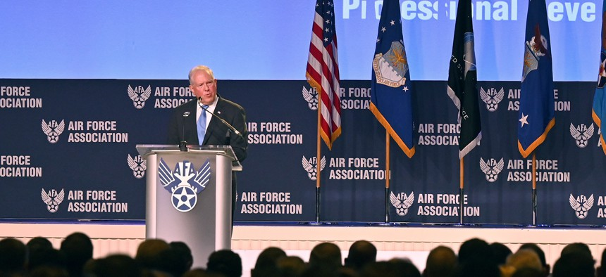 Air Force Secretary Frank Kendall delivers remarks during the Air Force Association Air, Space and Cyber Conference on Sept. 20.