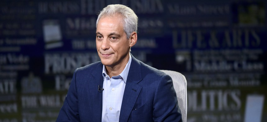 Former White House Chief of Staff and Chicago Mayor Rahm Emanuel visits WSJ at Large with Gerry Baker at Fox Business Network studios on August 1, 2019 in New York City.