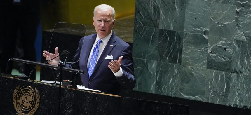 President Joe Biden delivers remarks to the 76th Session of the United Nations General Assembly, Sept. 21, 2021, in New York.