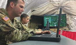 oldiers from the 94th Army Air and Missile Defense Command, track an unmanned aerial systems (UAS) threat during a scenario as part of Black Dart 18 on Muscatatuck Urban Training Center, Indiana, Sept. 17