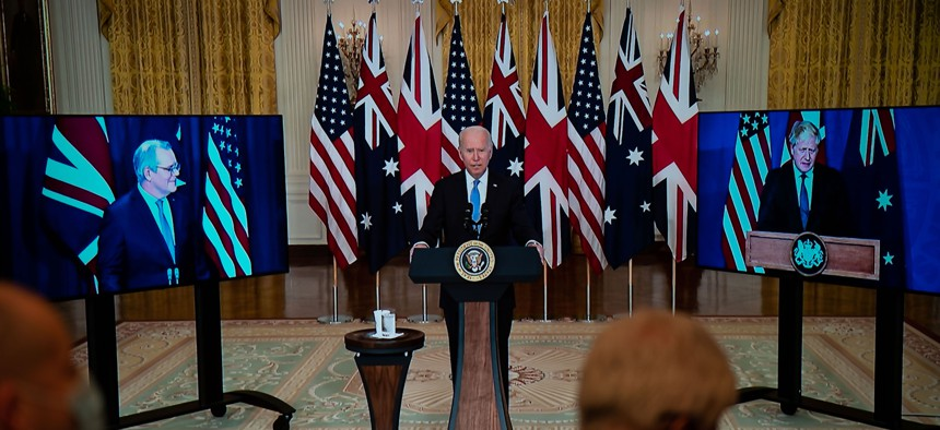 President Joe Biden announces that the United States will share nuclear submarine technology with Australia, as he is joined virtually by Prime Minister Scott Morrison of Australia and Prime Minister Boris Johnson of the United Kingdom, on Wednesday, Sept. 15, 2021.