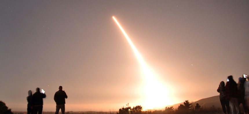 An Air Force Global Strike Command unarmed Minuteman III intercontinental ballistic missile launches during an operational test Oct. 29, 2020, at Vandenberg Air Force Base, California.