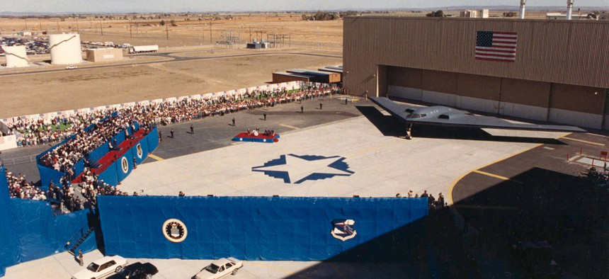 The most recent rollout of a new U.S. Air Force bomber took place in 1988, when the B-2 was unveiled at USAF Plant 42 in Palmdale, California.