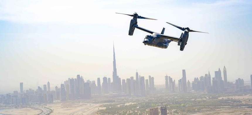 An Air Force CV-22 Osprey conducts training around Dubai, United Arab Emirates, Sept. 16, 2021.