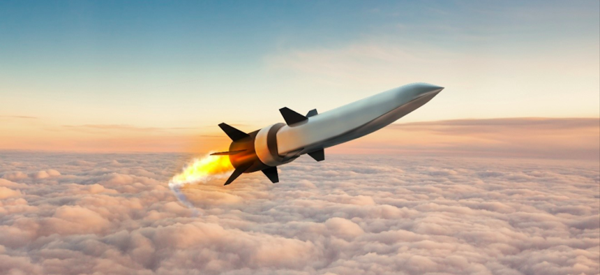 Artist's rendering of a hypersonic air-breathing missile.