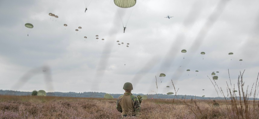 U.S. Army Paratroopers participate in Exercise Falcon Leap at Drop Zone Ginkelse Heide, Netherlands on September 15, 2021.