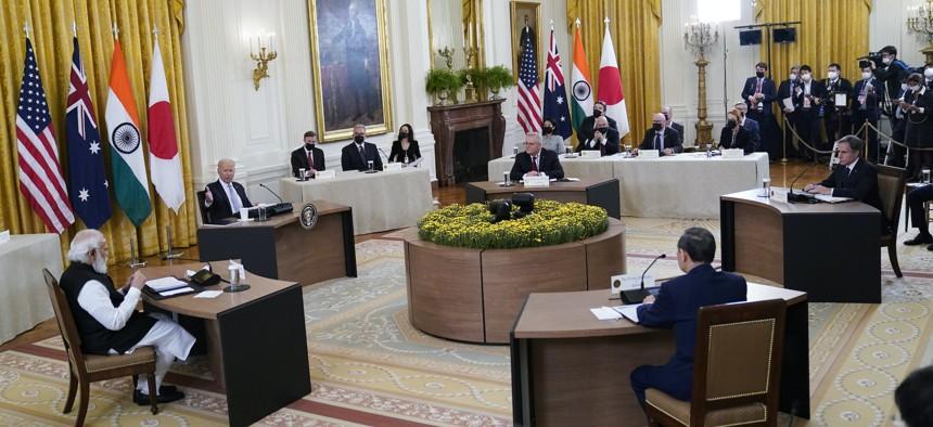 President Joe Biden speaks during the Quad summit with Australian Prime Minister Scott Morrison, Indian Prime Minister Narendra Modi, and Japanese Prime Minister Yoshihide Suga, in the East Room of the White House, Friday, Sept. 24, 2021, in Washington.