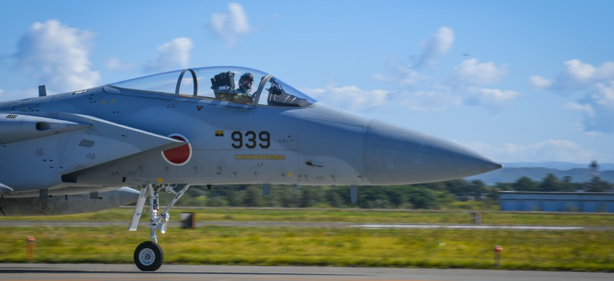 A Japan Air Self-Defense Force F-15J Eagle taxis to the runway for takeoff during a bilateral Aviation Training Relocation event at Chitose Air Base, Japan, Sept. 14, 2021.