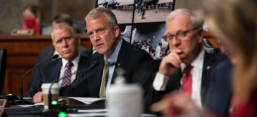 Sen. Dan Sullivan (R-AK) speaks during a Sept. 28 Senate Armed Services Committee hearing on Afghanistan. The committee has prioritized hearings about the recently concluded Afghanistan war over confirming top Pentagon officials.