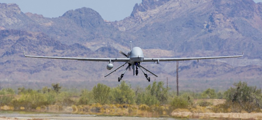 An Extended Range / Multipurpose (ER/MP) Unmanned Aircraft System (UAS), returns from functional testing during Project Convergence 20, at Yuma Proving Ground, Arizona, September 15, 2020.