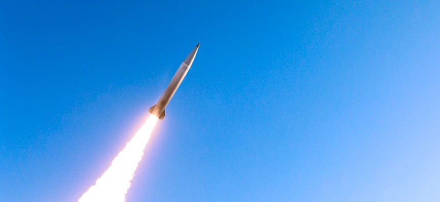 A Lockheed Martin Precision Strike Missile is fired during a May test.