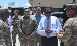 Leaders of the U.S. Army Pacific welcome Dr. Raj Iyer, chief information officer for the U.S. Army, to show the capabilities of USARPAC in Forager 21 at Andersen Air Force Base, July 28, 2021.