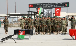 Turkey-trained Afghan non-commissioned officers salute during a graduation ceremony welcoming them into the Afghan National Army, Sept. 6, 2010.