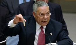 In this Feb. 5, 2003 file photo, Secretary of State Colin Powell holds up a vial he said could contain anthrax as he presents evidence of Iraq's alleged weapons programs to the United Nations Security Council.