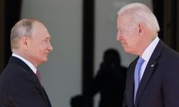 President Joe Biden and Russian President Vladimir Putin arrive to meet at the 'Villa la Grange', in Geneva, Switzerland, June 16, 2021.