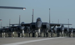 F-15E Strike Eagles taxi into formation June 12, 2019, at Mountain Home Air Force Base, Idaho.