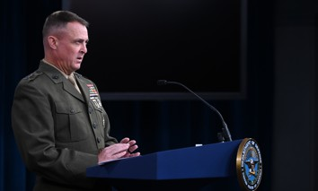 Lt. Gen. Michael Groen, Joint Artificial Intelligence Center director, conducts a press briefing about the DOD's efforts to adopt and scale artificial intelligence capabilities, from the Pentagon, Washington D.C., Nov. 24, 2020.