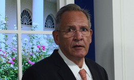 Raytheon CEO Greg Hayes attends a White House meeting on the need to address the debt limit on October 6, 2021.