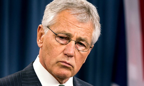 Hagel speaks to reporters during a press conference at the Pentagon