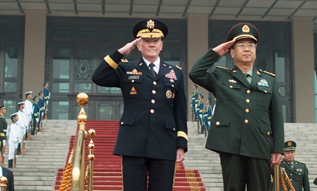 Gen. Martin Dempsey and China's chief of the general staff Gen. Fang Fenghui in April