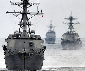The USS Stockdale and the USS Bunker Hill in the Pacific Ocean