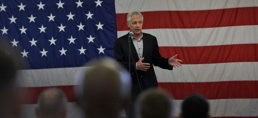 Defense Secretary Chuck Hagel addresses troops at Fort Bragg, N.C. on Monday.