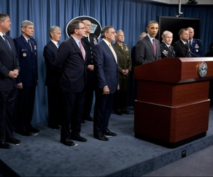 President Barack Obama held a briefing at the Pentagon last year to outline military strategy.