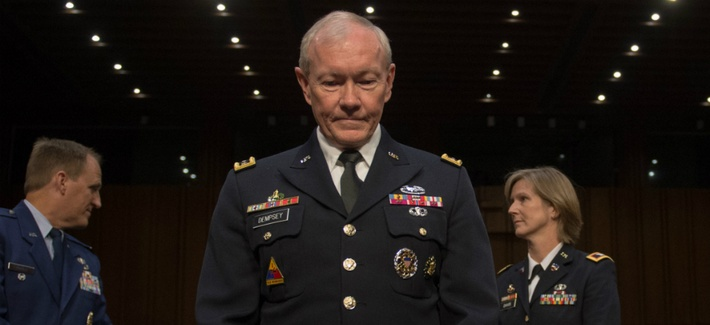 Chairman of the Joint Chiefs of Staff Gen. Martin E. Dempsey at his confirmation hearing before Senate Armed Services Committee in Washington D.C., Thursday, 18, July 2013