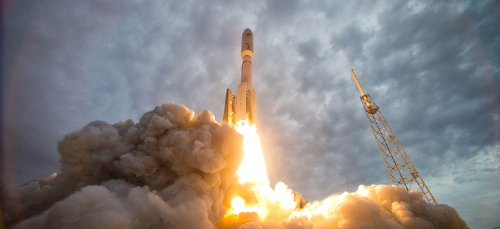 An Atlas V rocket launches the Navy's Mobile User Objective System (MUOS) 2 satellite from Space Launch Complex-41 at Cape Canaveral Air Force Station, Fla., July 19, 2013.