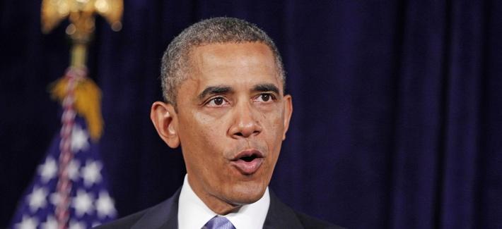 President Obama speaking in San Jose, California, on the NSA phone records program