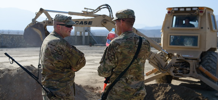 Soldiers from the 624th vertical construction company training the Afghan engineer Corps. January 2013